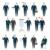 Businessman cartoon character set. Office man worker in suit. Vector design of flat people in presentation poses isolated on a white background.