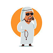 Arab man businessman in sunglasses. Male vector cartoon character with muslim chaplet in traditional clothes isolated on white background.