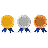Template of gold, silver and bronze medals with a blue ribbon. Awards for winners in hampionships. Vector flat cartoon illustration isolated on a white background.