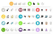 SEO icons set in different styles: thin line, flat, outline and color vector business elements for website design isolated on white background.