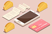 Online payment by bank card and cryptocurrency. Vector isometric flat concept illustration of electronic bill with mobile smartphone, gold coins and invoice.