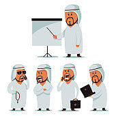 Arab man. Businessmen character vector cartoon set isolated on a white background.