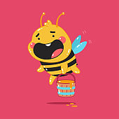 Cute bee with honey bucket vector cartoon character isolated on background.