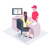 Delivery of office mail. Vector character of a man courier and a woman secretary at the reception. Flat isometric illustration isolated on white background.