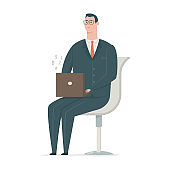 Business man in suit working on laptop and sitting in chair. Vector flat cartoon office worker character isolated on white background.