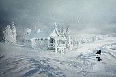 Winter Christmas scene, raster art illustration
