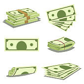 Stack of money and pile of cash. Dollar banknote icons. Vector cartoon illustration of paper currency isolated on white background.