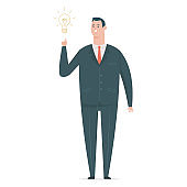 Idea business man in suit with a light bulb. Vector flat cartoon office worker character isolated on white background.