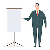 Happy business man in suit with presentation board. Vector flat cartoon office worker character isolated on white background.