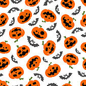 Halloween pumpkins and bats vector seamless pattern on white background for wallpaper, wrapping, packing and backdrop.