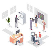 Office people at work. Business character of men and women for teamwork. Vector 3d flat isometric illustration of staff in workplace isolated on white background.
