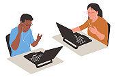 Online teaching vector cartoon illustration.