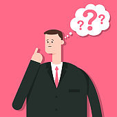 Thinking business man character. Vector flat cartoon illustration of a male with a question mark and speech bubble isolated on background.