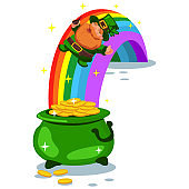 Pot of gold coins at the end of the rainbow and a leprechaun. Vector cartoon illustration isolated on white background. St. Patrick's Day characters.