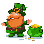Leprechaun in green hat with four leaf clover and a pot of gold coins. Vector cartoon character for St. Patrick's Day isolated on background.