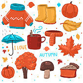 Cozy autumn elements vector cartoon set isolated on a white background.