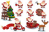 Funny and cute Santa Claus and Christmas elements vector cartoon characters set isolated on a white background.