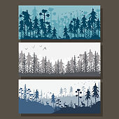Forest background with silhouette of trees and deer. Vector cartoon banners set isolated on background.