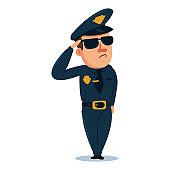 Cute policeman cartoon character. Police officer in traditional uniform. Vector people illustration isolated on white background.