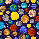 Solar system vector seamless pattern on background for wallpaper, wrapping, packing. Cartoon planet texture and backdrop.
