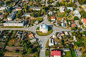 Chachersk, Gomel Region, Belarus. Aerial View Of Skyline Cityscape. Old Transfiguration Church. Historical Heritage In Bird's-eye View