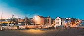 Helsinki, Finland. Panoramic View Of Helsinki Cathedral And Pohjoisranta Street In Evening Illuminations