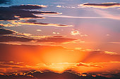 Sunshine In Sunrise Bright Dramatic Sky. Scenic Colorful Sky At Dawn. Sunset Sky Natural Abstract Background
