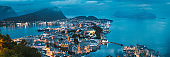 Alesund, Norway. Night View Of Alesund Skyline Cityscape. Historical Center In Summer Evening. Famous Norwegian Landmark And Popular Destination. Alesund, Kiven Viewpoint, Mt. Panorama, Panoramic View