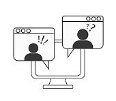 Webinar concept, online course, distant education, video lecture, internet group conference, training test, work from home, easy communication, vector line icon