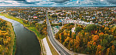 Mahiliou, Belarus. Mogilev Cityscape With Temple of the Holy Royal Martyrs and New Martyrs and Confessors of the 20th Century. Aerial View Of Skyline In Autumn Day. Bird's-eye View