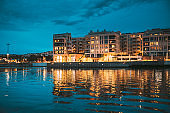 Oslo, Norway. Scenic Night Evening View Of Illuminated Residential Area District Downtown Sorenga