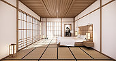 White bed room japanese design on tropical room interior and tatami mat floor. 3D rendering