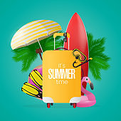 Composition on the theme of summer time. Red surfboard, yellow suitcase for tourism, flippers, swimming mask, goggles, palm trees, umbrella, rubber rings for swimming. Vector.