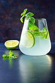 Cocktail mojito with lime and mint in glass. One glass of mojito on a dark background. Refreshing mint cocktail with lime. Infused water