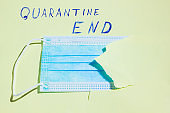 "Surgical mask in a paper hole. COVID-19 protection Concept. Protective face mask and a torn yellow paper. Inscription ""Quarantine End"". Quarantine Completion. Copy space"