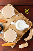 Masala chai tea on burlap. Traditional indian drink - masala tea with spices on a wooden background. Copy space. Top view