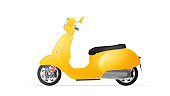 Realistic yellow moped in the old style. Yellow scooter isolated on a white background. Vector illustration.
