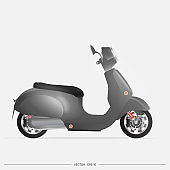 Realistic black moped in the old style. Yellow scooter isolated on a white background. Vector illustration.