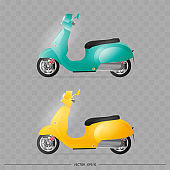 Realistic moped in the old style. Yellow and blue old scooter. Element for design of delivery. Transport. Vector illustration.
