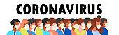 Coronavirus pandemic. Concept of coronavirus quarantine vector illustration. Novel coronavirus (2019-nCoV), people in white medical face mask. Seamless pattern. Flat vector illustration