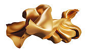 Golden fabric flying in the wind isolated on white background 3D render