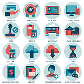 Set vector icons with elements for mobile concepts and web apps. Business and marketing, programming, data management, internet connection, social network, computing, information. Vector