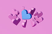 Heart shapes on pink background