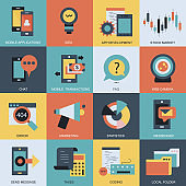 Business and technology icon set. Flat vector illustration