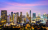 Bangkok Downtown Silom City Skyline at Sunset, Thailand