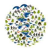 Icons of tourism in nature, the family goes on a hike, ecotourism, a fisherman in a boat, nature types: mountains, forest, meadow, coniferous forest, field, sea, lake. Group of tourists traveling. Adventures and camping, tents, fire