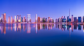 Panoramic View of the Downtown Dubai City Skyline and Business Park at Sunset, United Arab Emirates