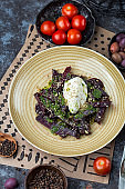 baked beetroot salad with cheese cream and pesto
