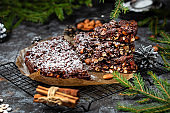 Panforte italian christmas cake with nuts and dried fruits
