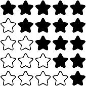 Set of 5 star rating icons isolated on a white background.
